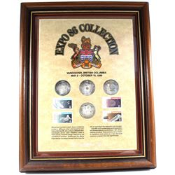 *Expo 86 British Columbia Collection in Wooden Frame. This Set features 4x .999 Fine Silver Medallio