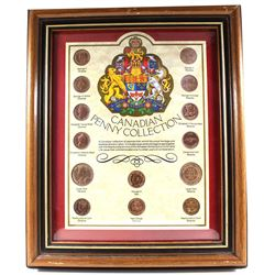 *Canadian Penny Collection 14-coin Set in Wooden Frame. You will receive the obverse and reverse of