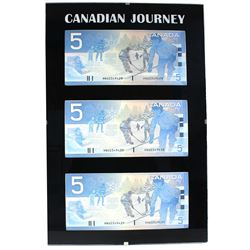 *2003 Journey Series $5 4-Digit RADAR Serial Number Banknote Set in Hard Plastic Holder Featuring th