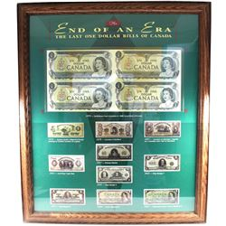 *The End of an Era - The Last One Dollar Bills of Canada Set in Wooden Frame Featuring an Uncut Bloc