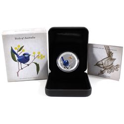 2013 Birds of Australia 50-cent Splendid Fairy-Wren 1/2oz Coloured .999 Fine Silver Proof Coin (caps