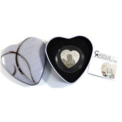 "2013 Republic of Cameroon ""Heart of Love"" 1000 Franc Sterling Silver Coin Encapsulated in Deluxe Hea"