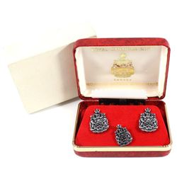 Set of Sterling Silver Royal Canadian Mint Cufflinks and Pin with the Canadian Coat of Arms Design.