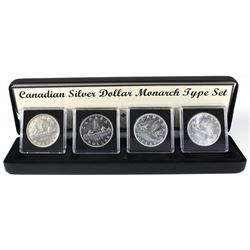 Canadian Silver Dollar 4-coin Monarch Type Set Featuring all the Monarch Portraits on Canadian Silve