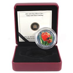 2011 Canada $20 Tulip with Venetian Glass Ladybug Fine Silver Coin (missing outer sleeve & COA light