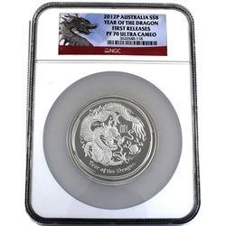 2012P Australia 5oz Silver $8 Year of the Dragon NGC PF 70 Ultra Cameo First Releases (TAX Exempt).