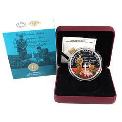 2015 Canada $50 5oz In Flanders Fields Centennial Fine Silver Coloured Coin (capsule lightly scratch