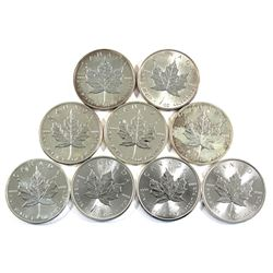 2002-2018 Canada 1oz .9999 Fine Silver Maple Leafs - 2002, 2003, 2008, 2009, 2011, 2013, 2014, 2016
