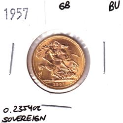 1957 Great Britain Sovereign Brilliant Uncirculated. Contains 0.2354oz Fine Gold.