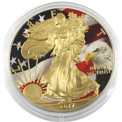 2017 USA 1oz Coloured & Gilded Eagle and Flag .999 Fine Silver Eagle (TAX Exempt).