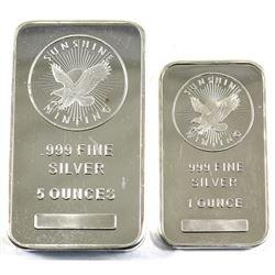 1oz & 5oz Sunshine Minting .999 Fine Silver Bars (lightly toned & lightly scratched). 2pcs (TAX Exem