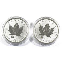 2016 Canada 1oz Four Leaf Clover Privy Mark .9999 Fine Silver Maple Leafs. 2pcs (TAX Exempt)