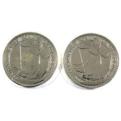 2013 Great Britain 1oz .999 Fine Britannias (toned). 2pcs (TAX Exempt)