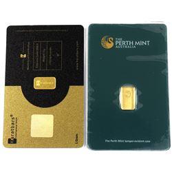 Perth Mint & Karatbars 1 Gram .9999 Fine Gold Bars in Hard Plastic Cards. 2pcs (TAX Exempt)