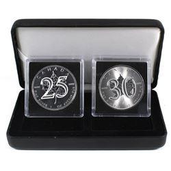 2013 & 2018 Canada 25th & 30th Anniversary of the SML 1oz .9999 Fine Silver Maple Leafs Encapsulated