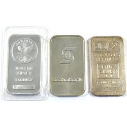 1oz Scotiabank, Johnson Matthey & Sunshine Mint .999 Fine Silver Bars (Scotiabank & JM bars are tone