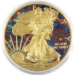 2018 USA 1oz Coloured & Gilded .999 Fine Silver Eagle (TAX Exempt).