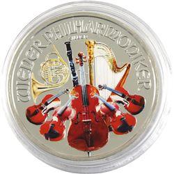2014 Austria 1oz Coloured Philarmonic .999 Fine Silver Coin (TAX Exempt).