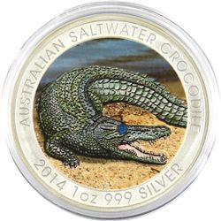 2014 Australia 1oz Coloured with Jewel Eye .999 Fine Silver Saltwater Crocodile (TAX Exempt).