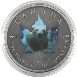 2015 Canada 1oz Antiqued & Coloured Polar Bear .9999 Fine Silver Maple Leaf (TAX Exempt).