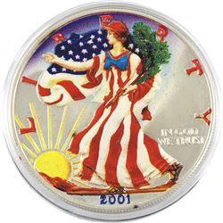 2001 USA 1oz Coloured .999 Fine Silver Eagle (toned). TAX Exempt