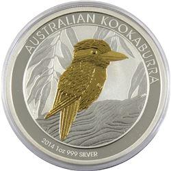 2014 Australia 1oz Gilded Kookaburra .999 Fine Silver Coin (TAX Exempt).