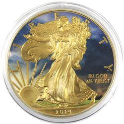 2014 USA 1oz Coloured & Gilded .999 Fine Silver Eagle (TAX Exempt).