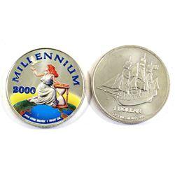 2000 Republic of Liberia Coloured Millennium & 2014 Cook Islands Ship 1oz .999 Fine Silver Rounds (t