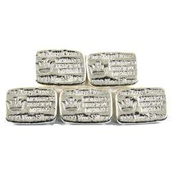 1oz Monarch Precious Metals .999 Fine Silver Poured Bars. 5pcs (TAX Exempt)
