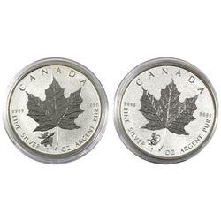 2016 Monkey & 2017 Moose Canada 1oz Privy Mark .9999 Fine Silver Maple Leafs (lightly toned). 2pcs (