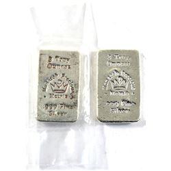 3oz Monarch Precious Metals .999 Fine Silver Poured Bar (TAX Exempt).2pcs