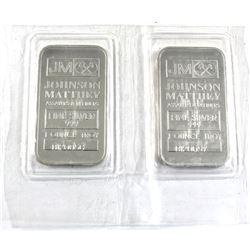1oz Johnson Matthey .999 Fine Silver Bars in Sealed Mint Plastic in Sequence (one bar is toned). 2pc