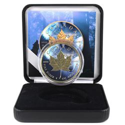 2018 Canada 1oz Coloured & Gilded Wolf .9999 Fine Silver Coin in Smitty's Treasures Display Box with