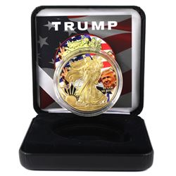 2018 USA 1oz Coloured & Gilded Trump and Flag .999 Fine Silver Coin in Smitty's Treasures Display Bo