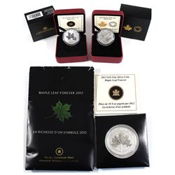 2012, 2013, 2014 Canada $10 Maple Leaf Fine Silver Coins (TAX Exempt). 3pcs.