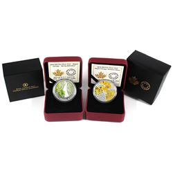 2014 Canada $20 Maple Canopy Spring Splendor & Autumn Allure Fine Silver Coins (TAX Exempt). 2pcs.