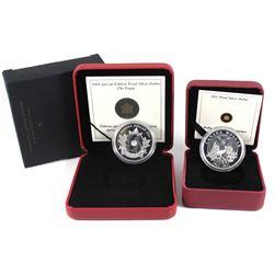 2004 Canada Sp.Ed. Fine Silver Proof Dollar - Poppy & 2011 Canada Sterling Proof Silver Dollar - Par