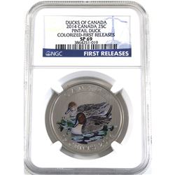 2014 Canada 25-cent Ducks of Canada - Pintail Duck NGC Certified SP-69