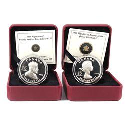 2008 Canada $15 Vignettes - King Edward VII & 2009 Canada $15 Vignettes - Queen Elizabeth II Sterlin