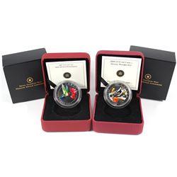 2007 Canada 25-cent Ruby-throated Hummingbird & 2008 Canada 25-cent Downy Woodpecker Coin set. 2pcs.