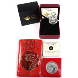 2012 Canada $10 Year of the Dragon & 2017 Canada $8 Lion Dance Fine Silver Coins (TAX Exempt). 2012