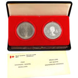 1977 Canada Four Governor Generals Sterling Silver & Cupronickel Madallion Set Issued by the RCM. Al