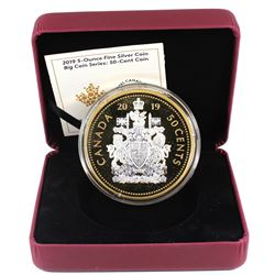 2019 Canada 50-cent Big Coin Reverse Gold Plated 5oz. Fine Silver (TAX Exempt). Outer box not includ
