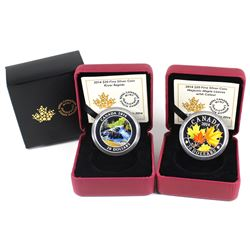 2014 Canada $20 Coloured Majestic Maple Leaves & River Rapids Fine Silver Coins (TAX Exempt). Note,