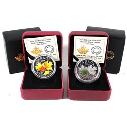 2014 Canada $20 Coloured Majestic Maple Leaves & Maple Leaves with Jade Fine Silver Coins (TAX Exemp