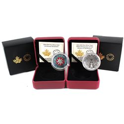 2014 & 2016 Canada $25 Commemorative Fine Silver Coin Set (TAX Exempt). You will receive a 2014 Chri