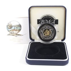 1505-2005 Bermuda $5 Quincentennial Commemorative Sterling Silver Proof Coin with Gold Plating in Be