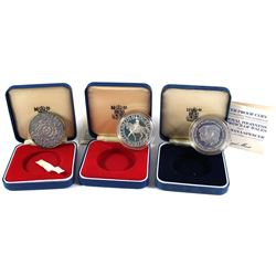 Lot of Great Britain Commemorative Sterling Silver Coins in Original Blue Display Boxes. You will re