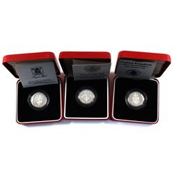 1987, 1988 & 1989 United Kingdom 1 Pound Piedfort Silver Proof Coins in Original Red Display Boxes w