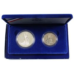 1986 USA Ellis Island Silver Dollar and Half Dollar 2-coin Proof Set (missing top lid & Silver Dolla
